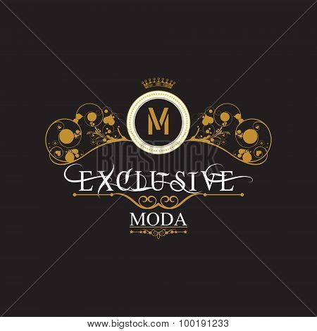 Elegant gold letter M