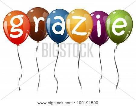Flying Balloons With Text Grazie