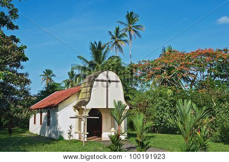 Exterior of the small catholic church in the town of Tortuguero, Costa Rica.