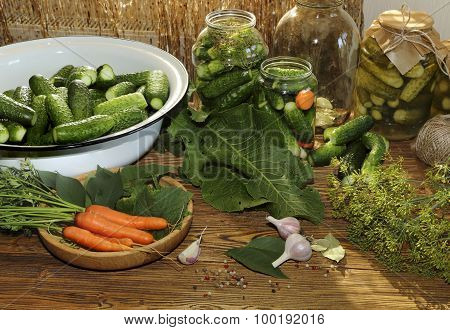 Cucumbers And Carrots Prepared For Canning
