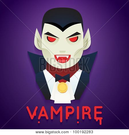 Halloween Party Vampire Role Character Bust Icons Stylish Background Flat Design Greeting Card Templ