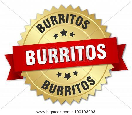 Burritos 3D Gold Badge With Red Ribbon