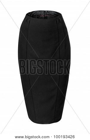 Empty Black Skirt Pencil Isolated On White Background