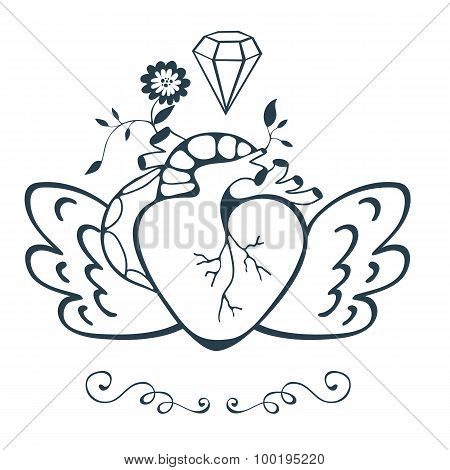 Vintage style emblem with human heart with wings