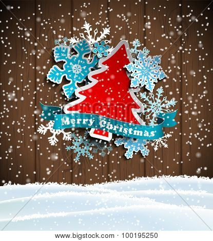 christmas theme, abstract tree and snowflakes on wooden background, illustration
