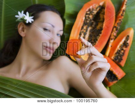 Beautiful Caucasian Woman With Fresh Fruit Papaya (outdoors). Healthy Natural Exotic Food
