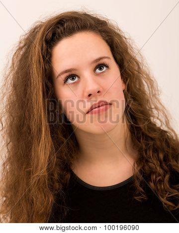 Beautiful Ginger Teenage Girl Looking Up