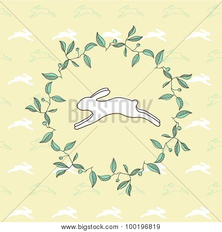 rabbit pattern with leaves frame