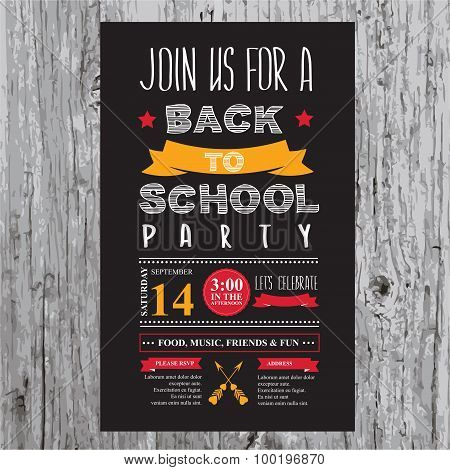 Back to school party invitation.