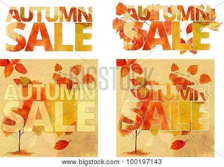 A set of bright banners with the words 'autumn sale', autumn trees and leaves