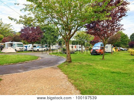 European campsite for cars and trailers