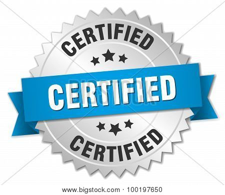 Certified 3D Silver Badge With Blue Ribbon