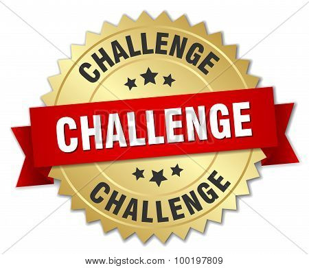 Challenge 3D Gold Badge With Red Ribbon