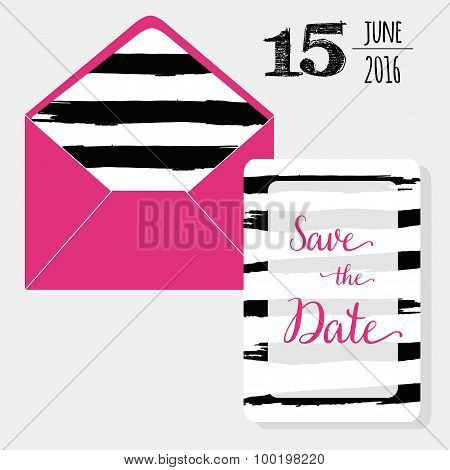 Save the date set pink envelope and graphic watercolor black brush stroke