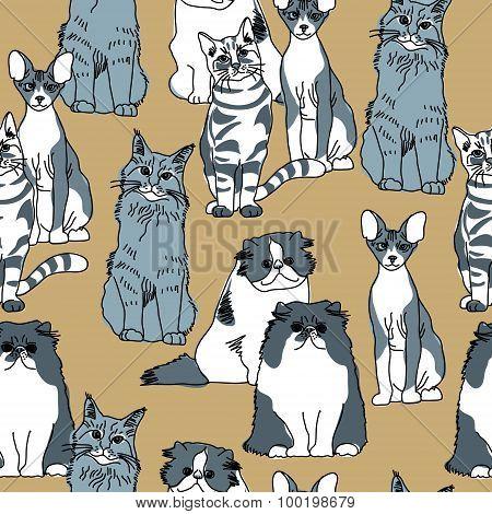 Cats pets animal group gray seamless pattern