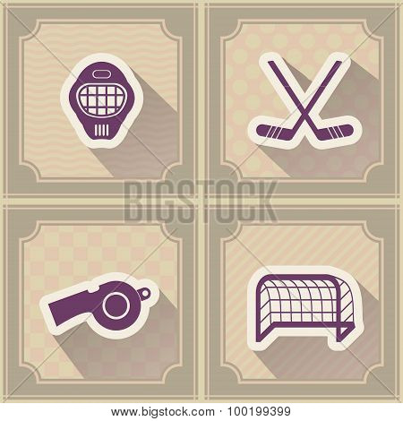 Seamless background with  hockey icons