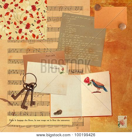 Vintage collage with sheet music and watercolor drawings