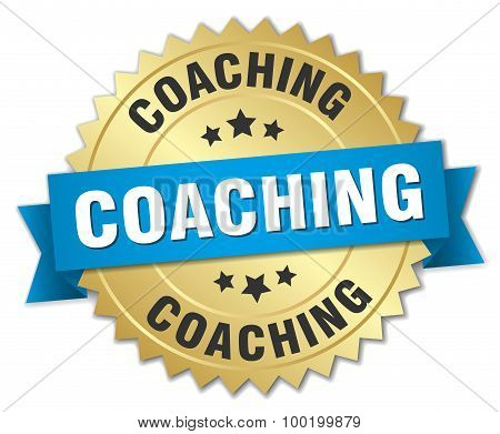 Coaching 3D Gold Badge With Blue Ribbon