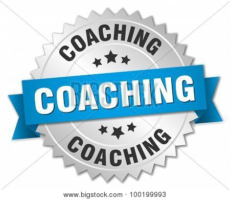 Coaching 3D Silver Badge With Blue Ribbon