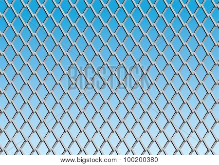 Chain Link Fence With Blue Sky Background; Vector
