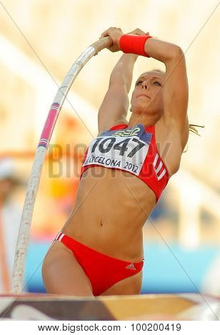 BARCELONA - JULY, 14: Kira Grunberg of Austria in action during Pole Vault Event of the 20th World Junior Athletics Championships at the Stadium on July 14, 2012 in Barcelona, Spain