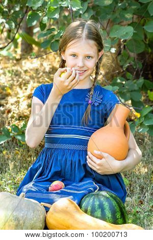 Girl With Jug And Harvest Melons