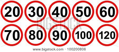 Speed limit road traffic signs.
