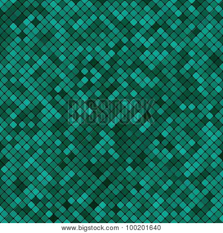 Background Abstract Mosaic Of The Grid Pixel Pattern And Squares Turquoise Color