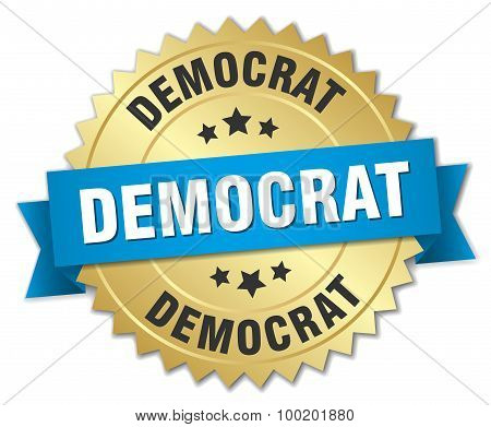 Democrat 3D Gold Badge With Blue Ribbon