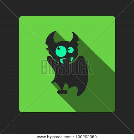Quadrate Flat Vector Icon With Vampire Bat For Halloween.