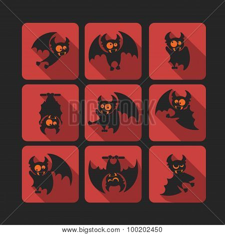 Quadrate Flat Vector Icon Set With Vampire Bat For Halloween.