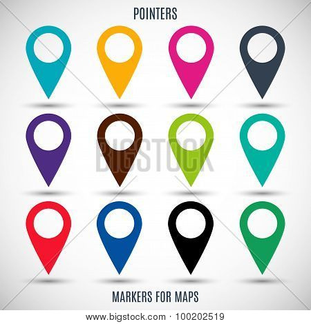 Set Icons Pointers For Map In The Style Flat Design Different Color On A Gray Background