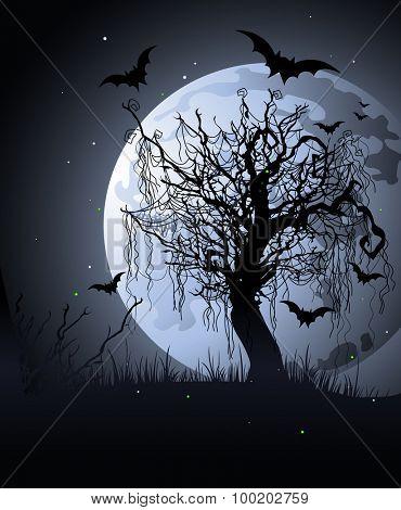 Creepy tree at night Halloween background