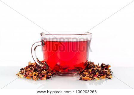 isolated transparent mug of red tea
