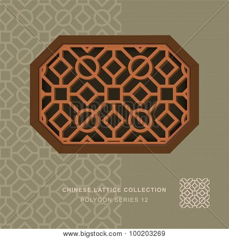 Chinese window tracery polygon frame 12 square circle