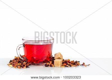 isolated transparent mug of red tea with sugar