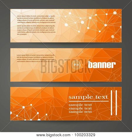 Set Of Templates For Design Of Banners, Web Pages In Geometric Graphic Style.