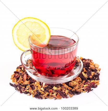 isolated transparent mug of hibiscus tea with lemon
