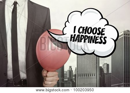 I choose happiness text on speech bubble