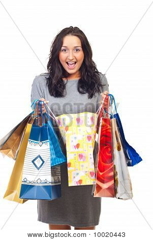 Excited Woman Of Her Shoppings