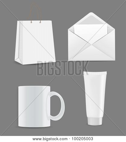 Empty Shopping Bag, Envelope and Cup for Advertising and Brandin