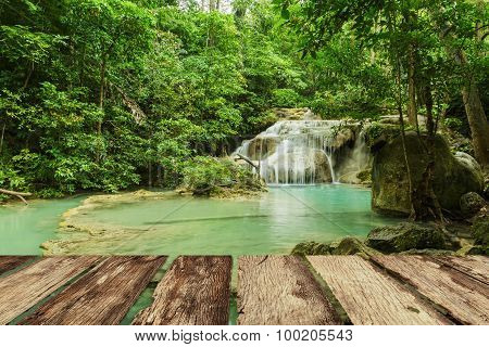 Erawan Waterfall  With Wooden Board