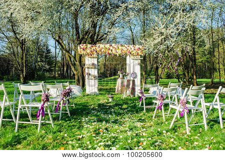 Wedding ceremony in blooming garden