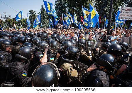 Clashes Between Protesters And Law Enforcers Under Parliament Of Ukraine