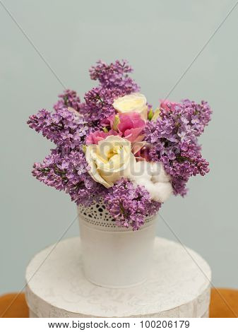 Beautiful  bouquet with lilac flowers and roses