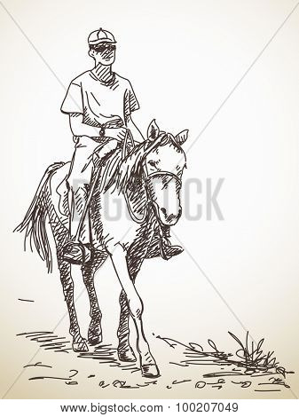 Sketch of man riding a horse Hand drawn vector illustration