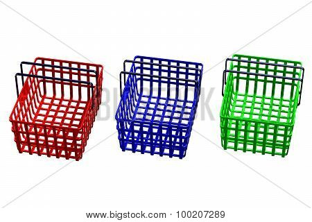 Colored Shopping Baskets Isolated On White Background
