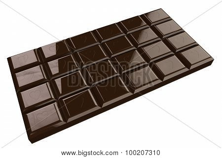Chocolate Bar With Heart Isolated On White Background