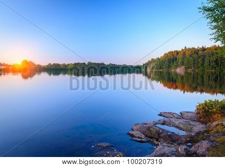 Beautiful evening at the reservoir in Finland and the Aland Islands