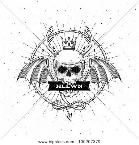 Horned skull with wings - line art halloween vector illustration